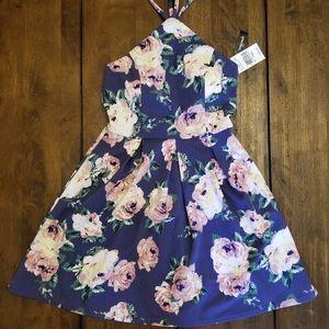New! Juniors Speechless Indigo Floral Skater Dress